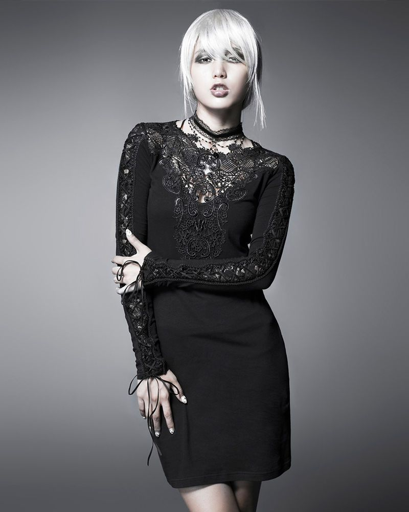 Details about punk rave black nightingale dress goth steampunk lace