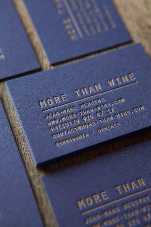 Encre Dore Pantone 871U En Dbossage Sur Papier Coton Bleu Nuit 600g Letterpress Business Cards Printed In Gold PMS