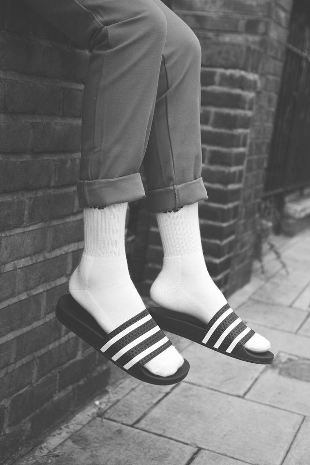 met Adilette witte Adilette sokken met FBqFWanxO