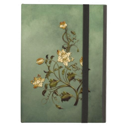 Green Grunge Ombre Background Gold Floral Swirls #ipadaircases #grunge #floral #swirls #gold