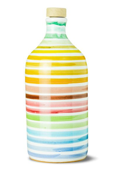Italian Extra Virgin Olive Oil In A Gorgeous Handmade Terracotta Rainbow Bottle. Delicate, Balanced, Ideal For Bruschetta & Vegetables. Free UK Delivery.