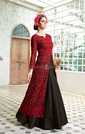 Red color contrast dresses for wedding