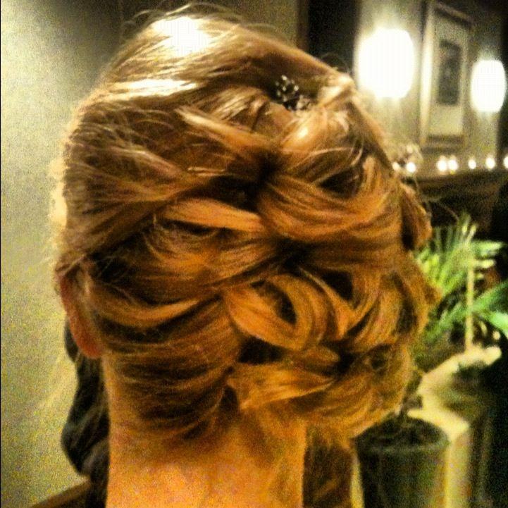 Pinned curl updo. Hair by Kelli Douglass