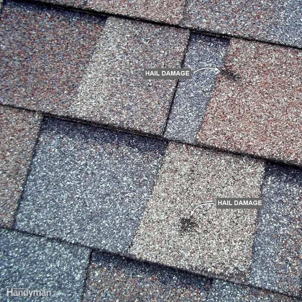Hail Damage When A Large Hailstone Hits An Asphalt Shingle It