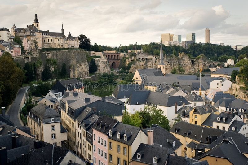 Roofs of old Luxembourg. Luxembourg - old town part, shot from the hill #Sponsored , #Ad, #SPONSORED, #Luxembourg, #hill, #shot, #Roofs