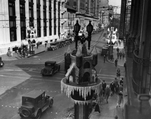 christmas decorations at olive and 6th streets in downtown los angeles ca 1929