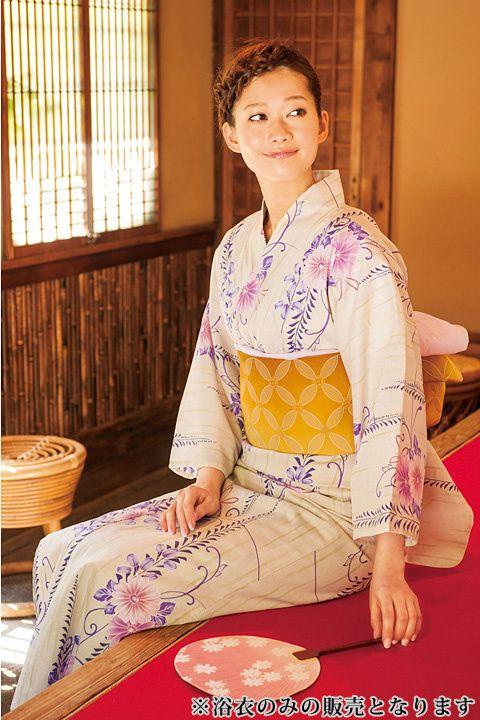 with collection・浴衣(ウィズコレクション・ユカタ)愛されゆかた(きなり地×絣に菊と藤)