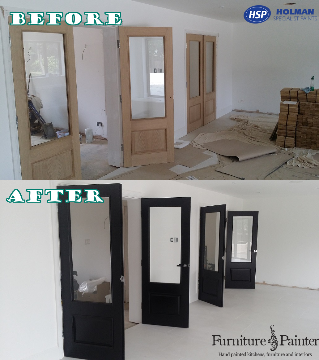 Mrs B wanted heavy doors with a silky jet black finish that shows the texture of the wood grain. The furniture manufacturer, Osborne of Ilkeston and the building contractor hunted high and low but could not find the right finish or colour. After some head scratching, Osborne's asked their trusted specialist painter, Russ Pike if it would be possible to paint the oak doors jet black. Russ accepted the challenge and the results were phenomenal!