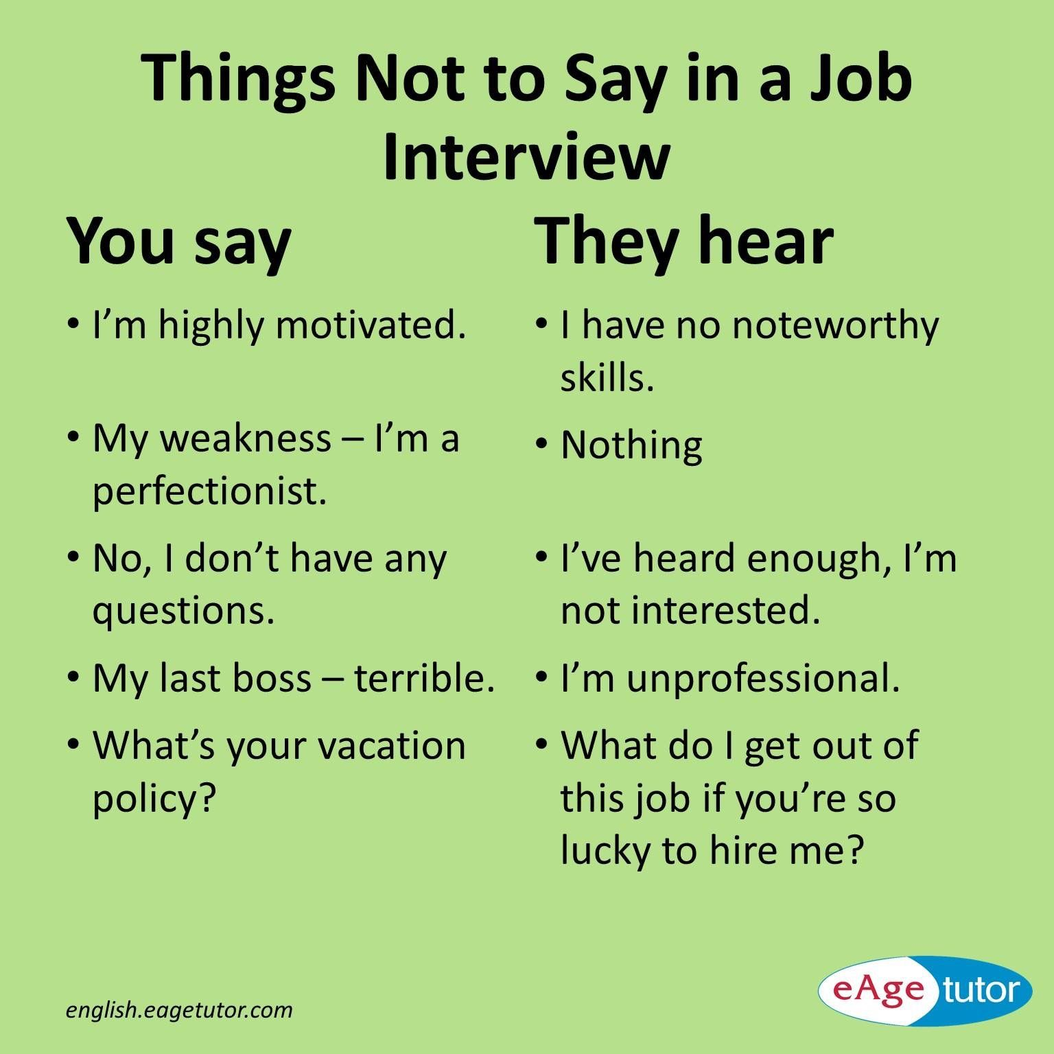 things not to say in a job interview - What To Say In An Interview What Not To Say In An Interview