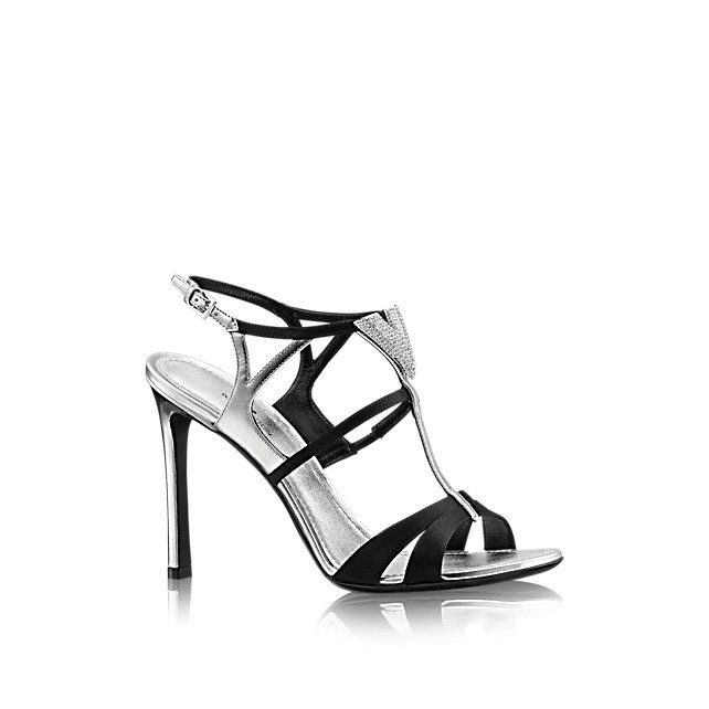 43403054cc0f Discover Louis Vuitton Sunrise Sandal  This sophisticated sandal in  metallic calf leather and satin features a dazzling Louis Vuitton