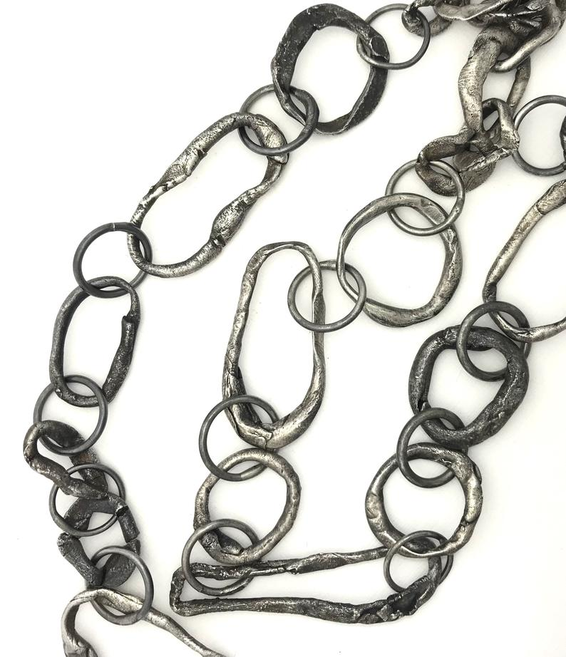 heavy chain necklace raw chain necklace raw silver necklace statement necklace, oxidized silver