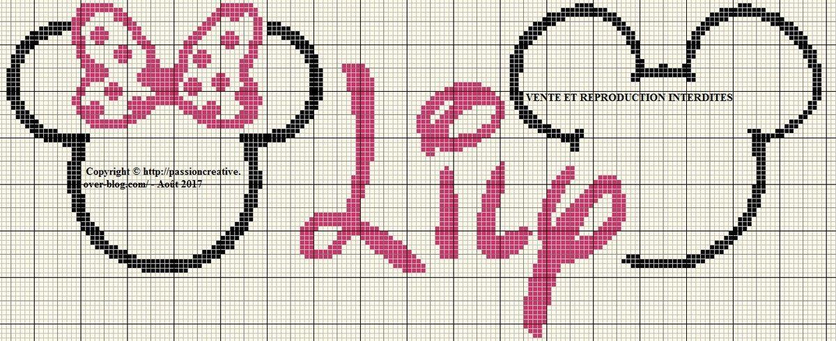 Grille gratuite point de croix : Minnie et Mickey - Passion creative Alphabet Di… (With images ...