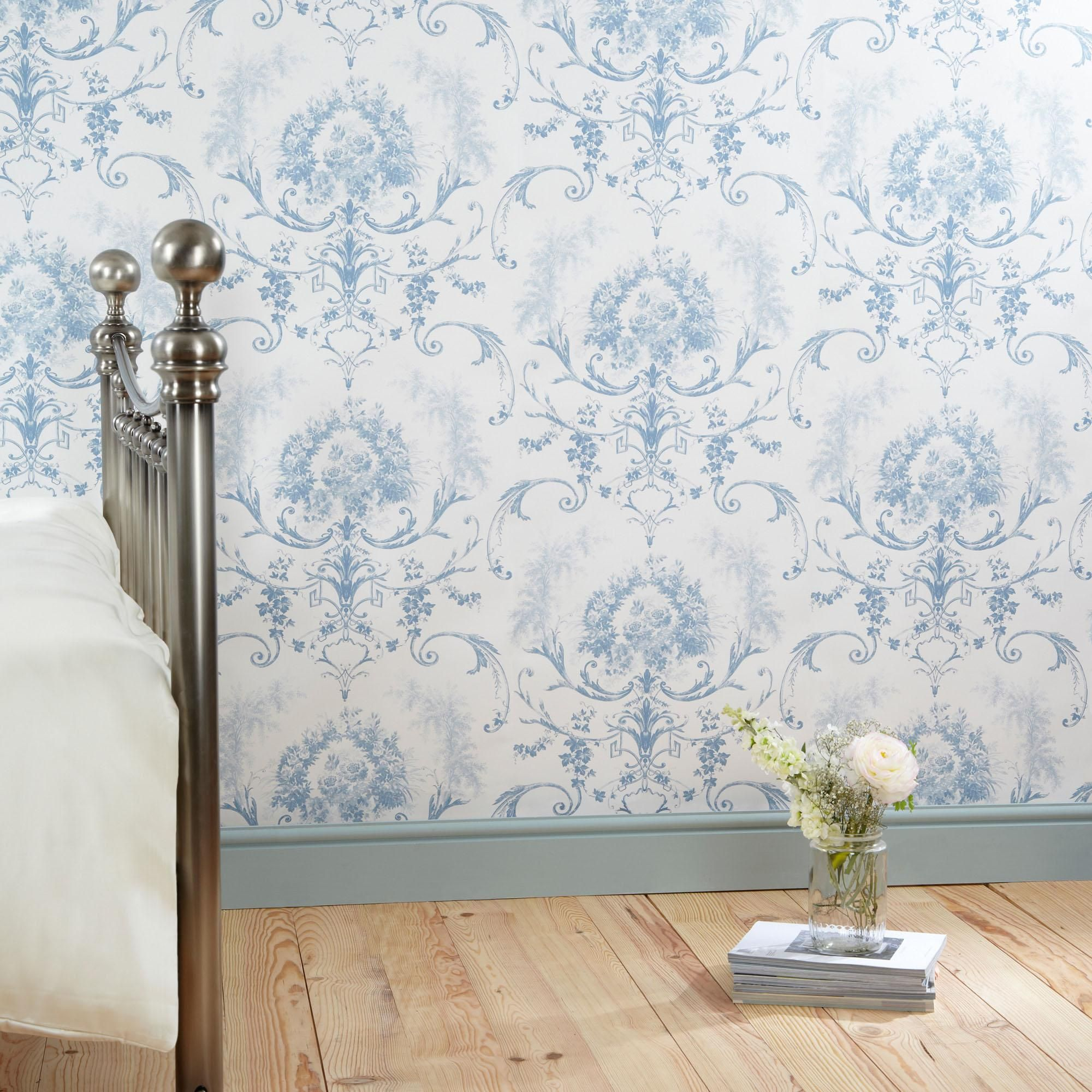 Dorma Blue Toile Wallpaper in 2020 Toile wallpaper, Blue