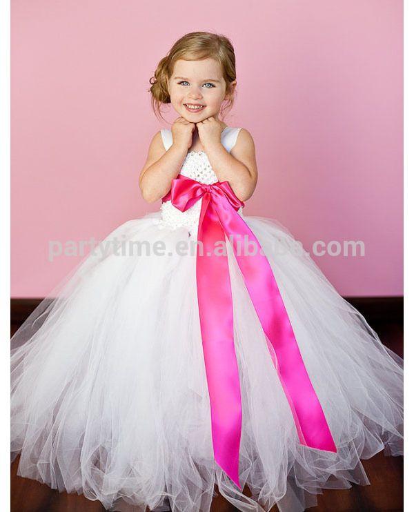 flor blanca girl tutu vestido de las niñas vestidos de fiesta con ...