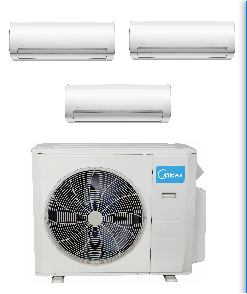 Multizone 3 Rooms In Minisplitwarehouse Com Why Customers Choose Our Products Get Midea 3 Zone 27k Ductless Air Conditioner Air Conditioner Units Heat Pump