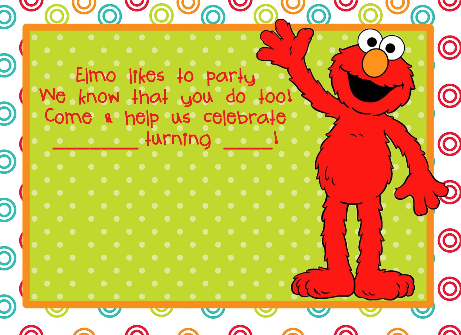 elmo party theme invitation free download changing the words a little - Elmo Birthday Party Invitations