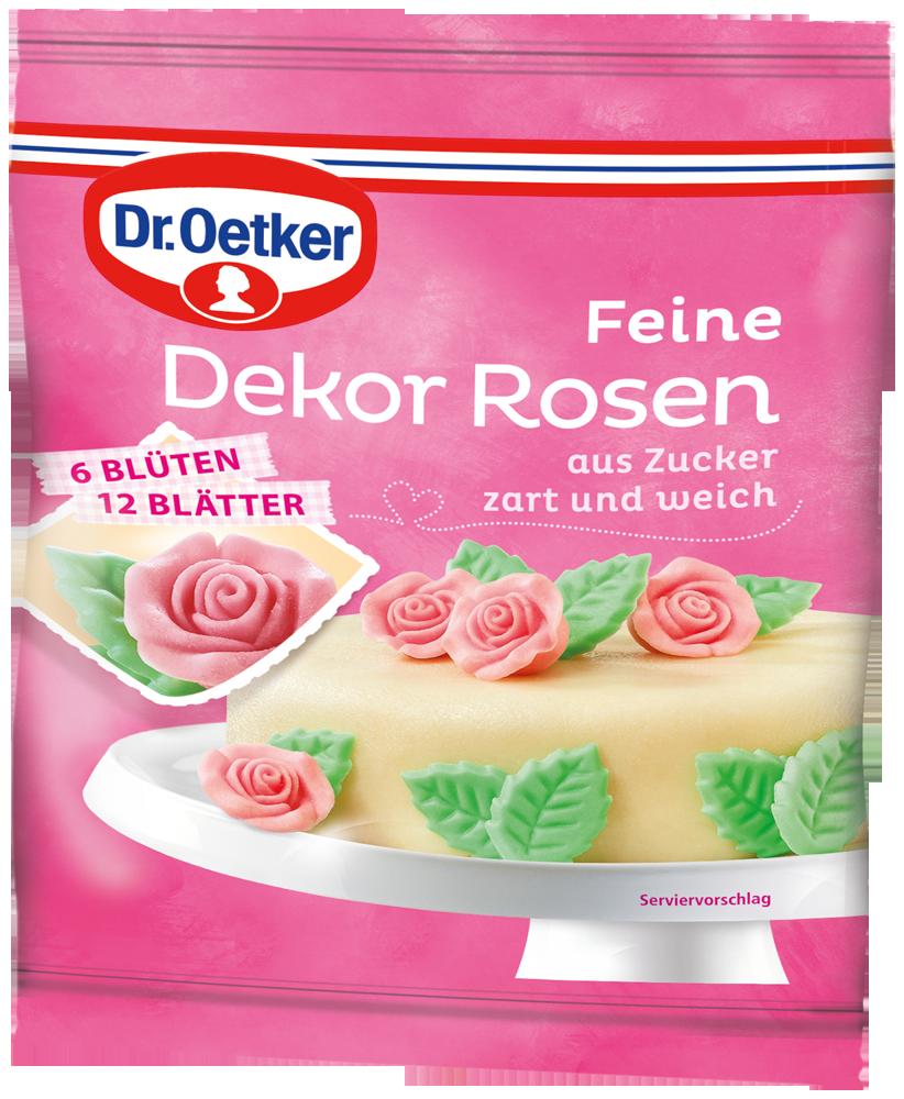 Die Dr Oetker Dekor Rosen Veredeln In Zartem Rose Mit Grunen Blattern Einfach Und Dekorativ Ihr Geback Und Ihre Torten Backzutaten Backwaren Marzipan