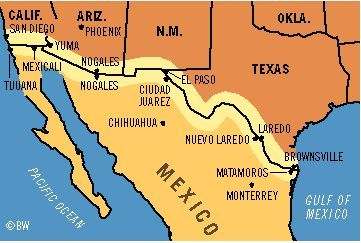 image result for borders of mexico and usa map