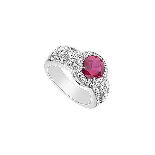 GF Bangkok Ruby and Cubic Zirconia Ring : 10K White Gold - 3.00 CT TGW