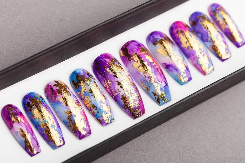 Golden Unicorn Press on Nails  Summer Nails  False Nails  | Etsy