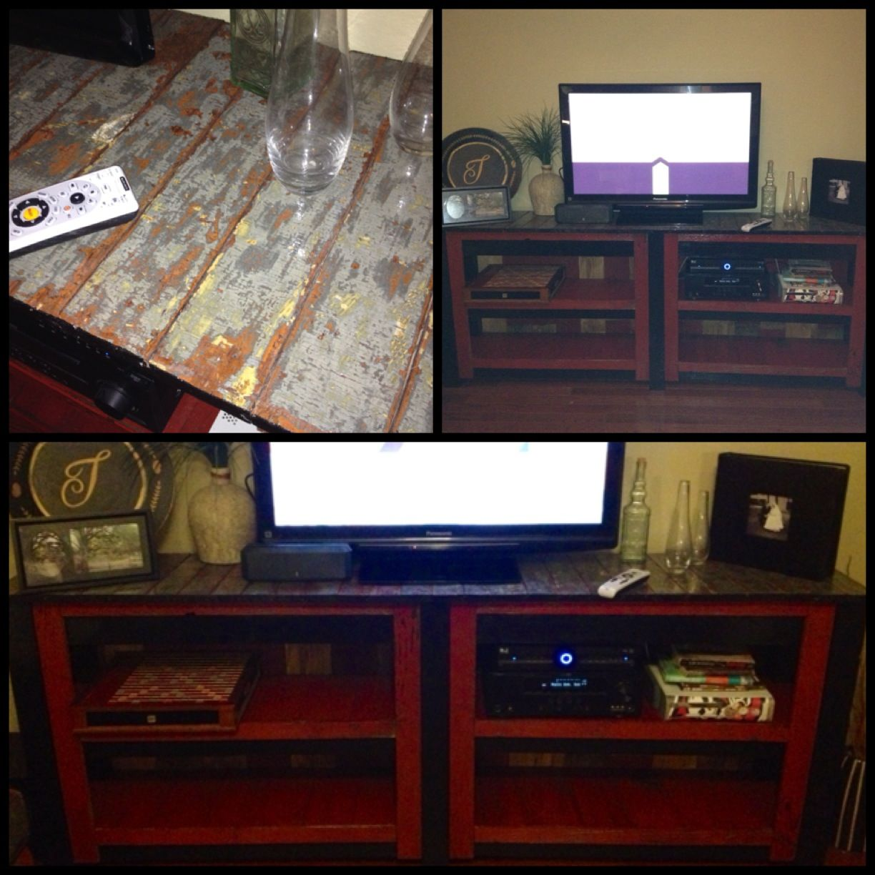 Entertainment center made with reclaimed fencing lumber and old door. Made by Red Door Salvage.