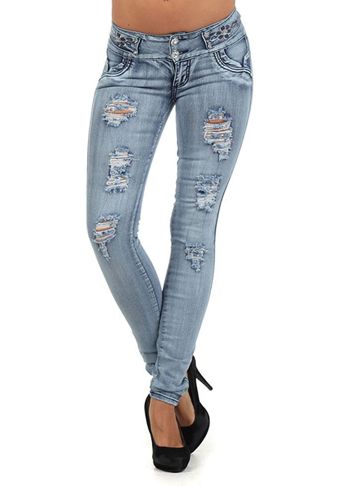9e18becce Trendy Ripped Butt Lift Jeans- Waist Accent Jeans- Distressed Butt Lifting  Jeans