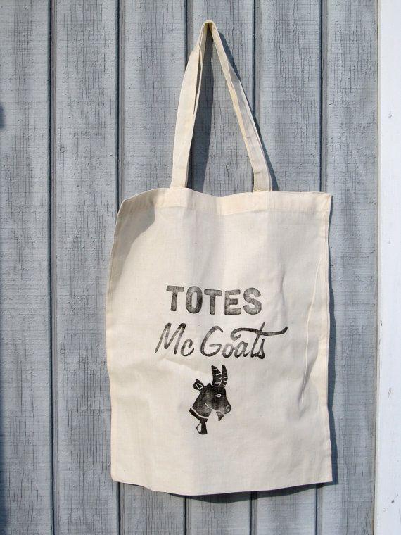 Totes McGoats illustrated tote bag, block printed canvas tote ...