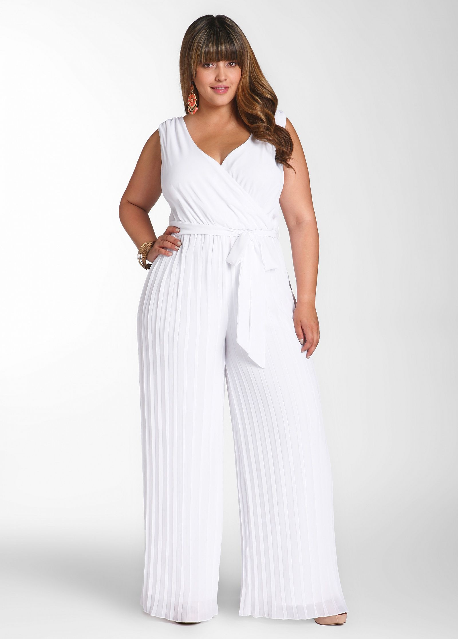 768009df7f1 Pleated Pant Jumpsuit by Ashley Stewart  49.50 Style  LWD339HC Fashion  forward! Plus size jumpsuit features a surplice top at front and back