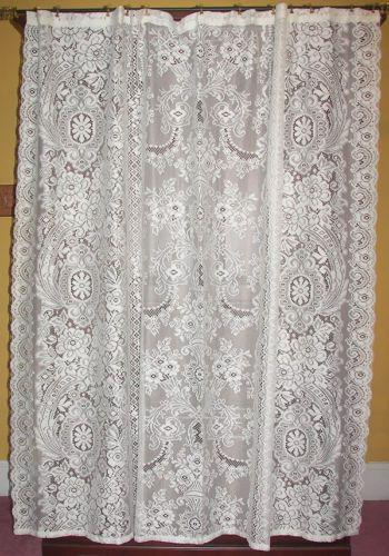 vintage net floral lace shower curtain