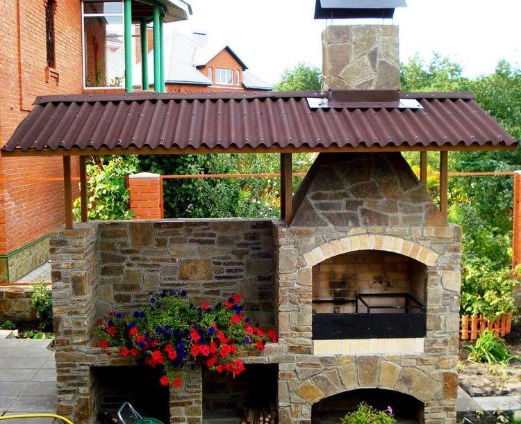 Barbecue extérieur pierre et brique Vizela   Barbecue en