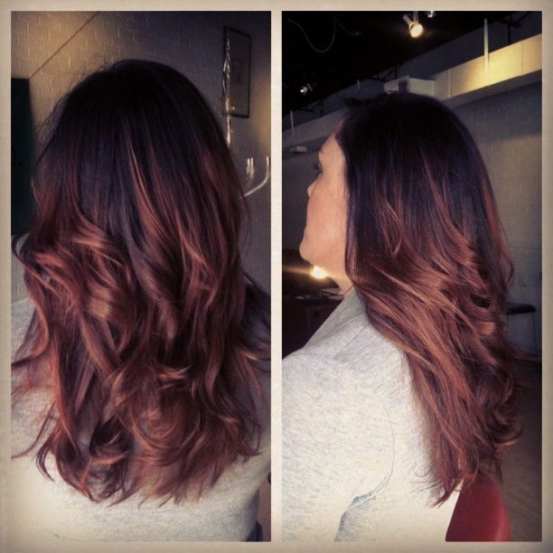Black Hair Fades Into Redish Auburn Ombre Love This