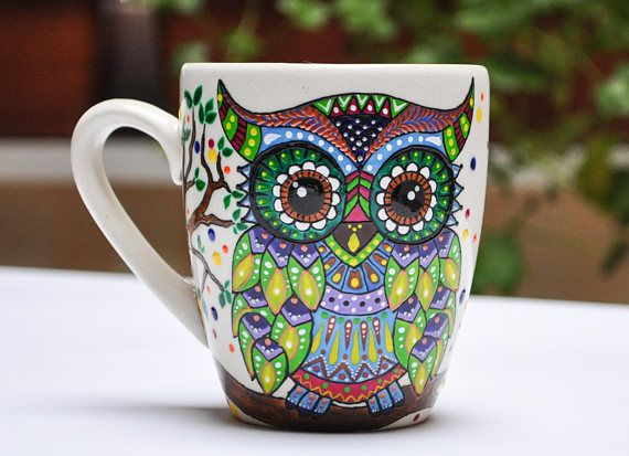 Owl coffee mug, tea cup with owl, owl bird mug, painted ...