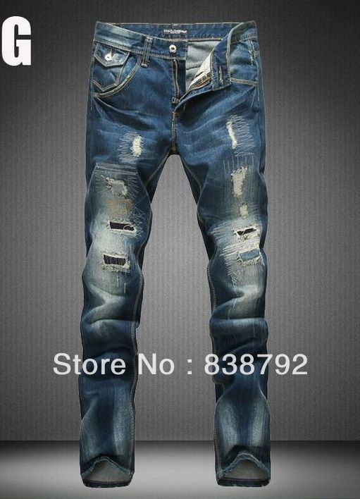 High Quality Mens Jeans Famous Brand Designer Straight Slim Gray ...