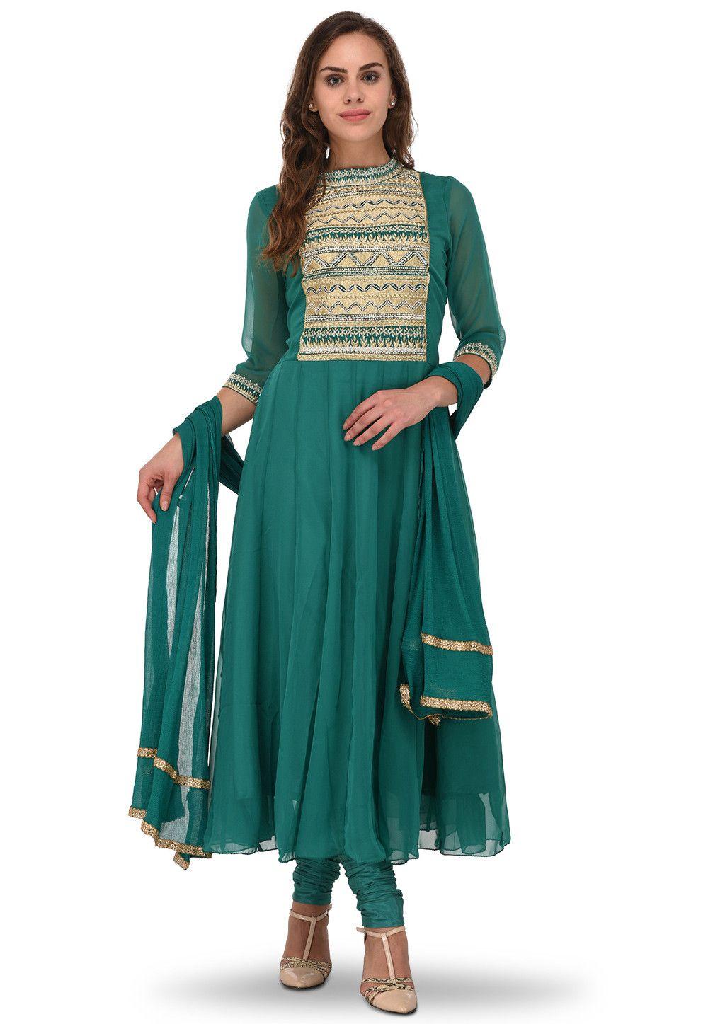 Embroidered Georgette Anarkali Suit in Teal Green : KUZ278 | Wedding ...