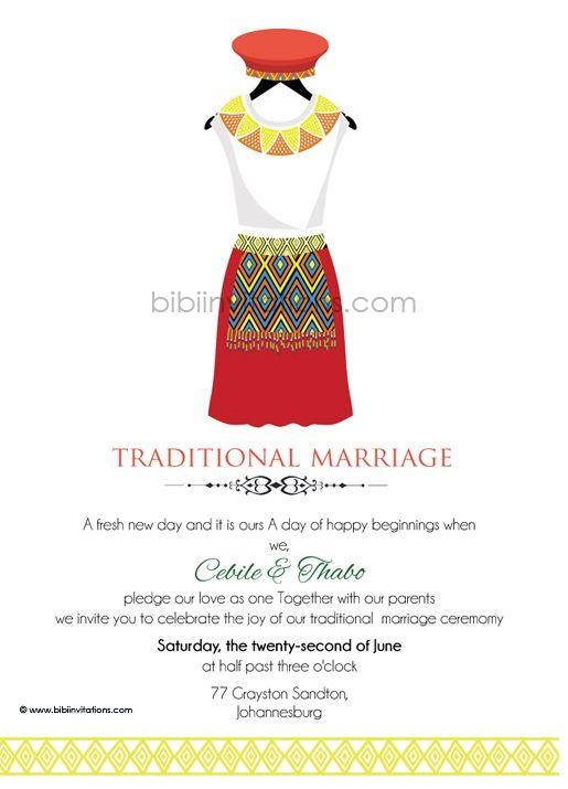 Buhle zulu umembeso tradtional wedding invitation zulu for Xhosa traditional wedding invitations