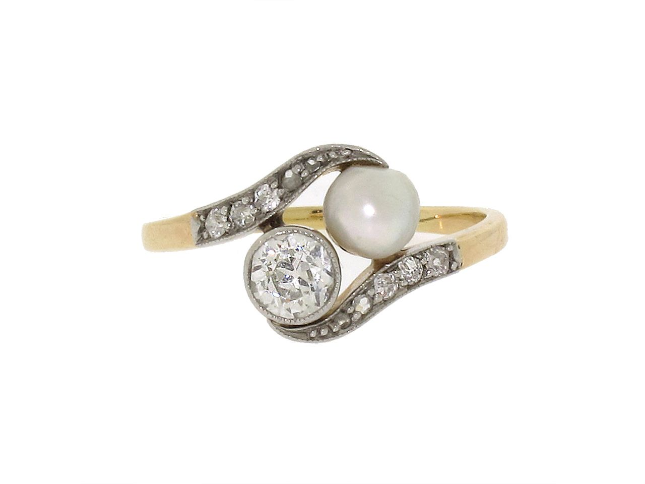Antique Edwardian Natural Pearl And Diamond Ring In Platinum And Gold,  Circa 1905
