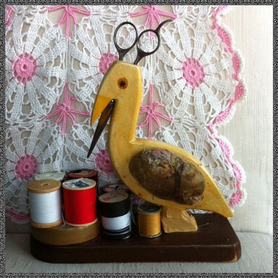 Vintage Wooden Bird Folk Art Sewing Center by Dejavujunkie on Etsy