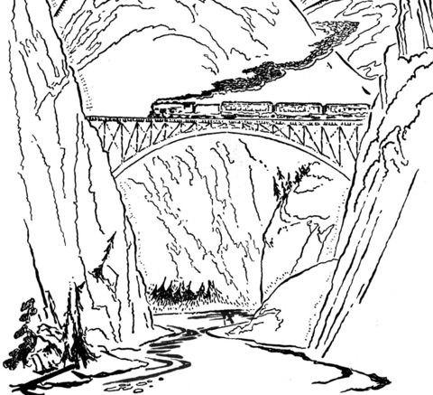Train On The Bridge Coloring Page Free Printable Coloring Pages Printable Coloring Pages Coloring Pages Train Coloring Pages