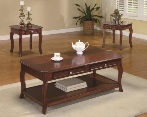 Cherry Wood Coffee Table And End Tables Warm Bourbon Finish 3-Piece, Coaster Home Furnishings