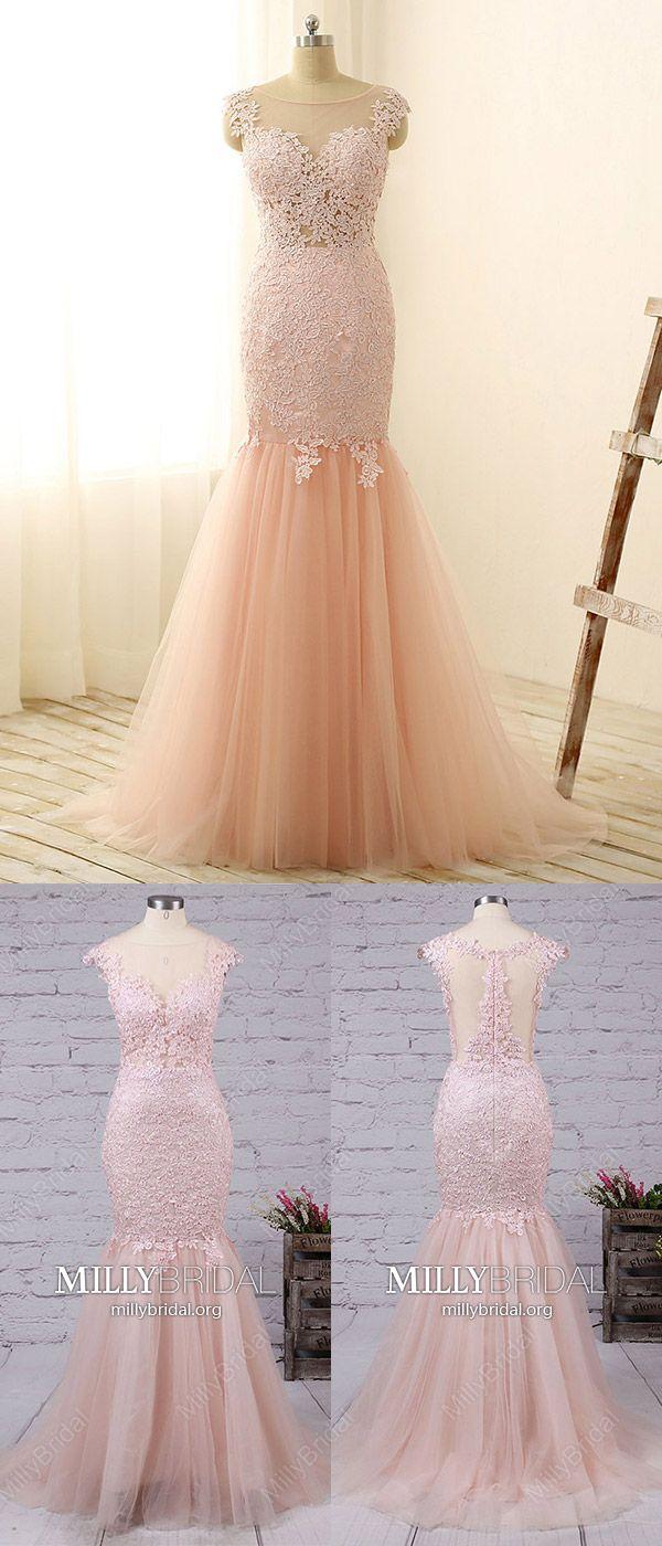 Long prom dresses mermaidpink prom dresses with cap sleeveslace