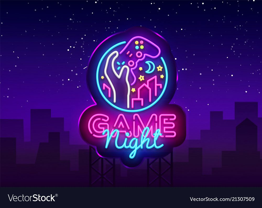 Game night neon sign logo design template Vector Image ,