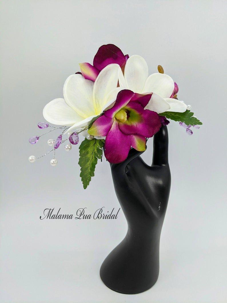 Bridal hair piece Purple dendrobium Wedding hair accessory Beach Wedding hair clip Tropical flower Hawaiian flower SILK ORCHID HAIR Pin