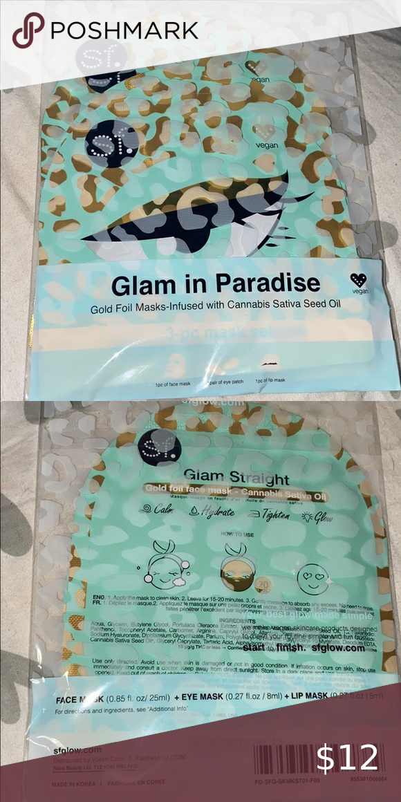 Glam in Paradise Gold foil mask. Set of three. NEW