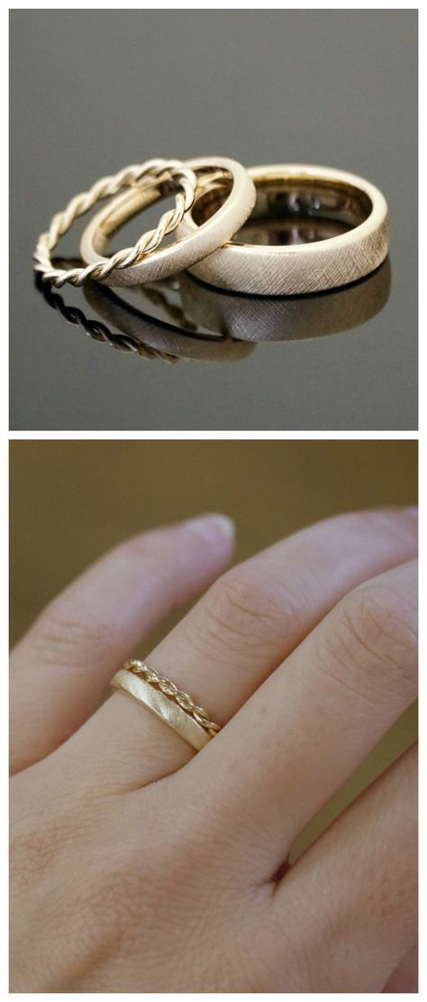 Photo of Goldene Vintage Ringe mit Kordeldesign, romantische Eheringe / romantic golden w…