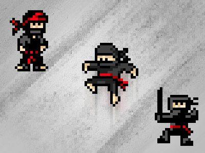Pixel Ninja Warriors In 2019 Pixel Art Ninja Warrior Ninja