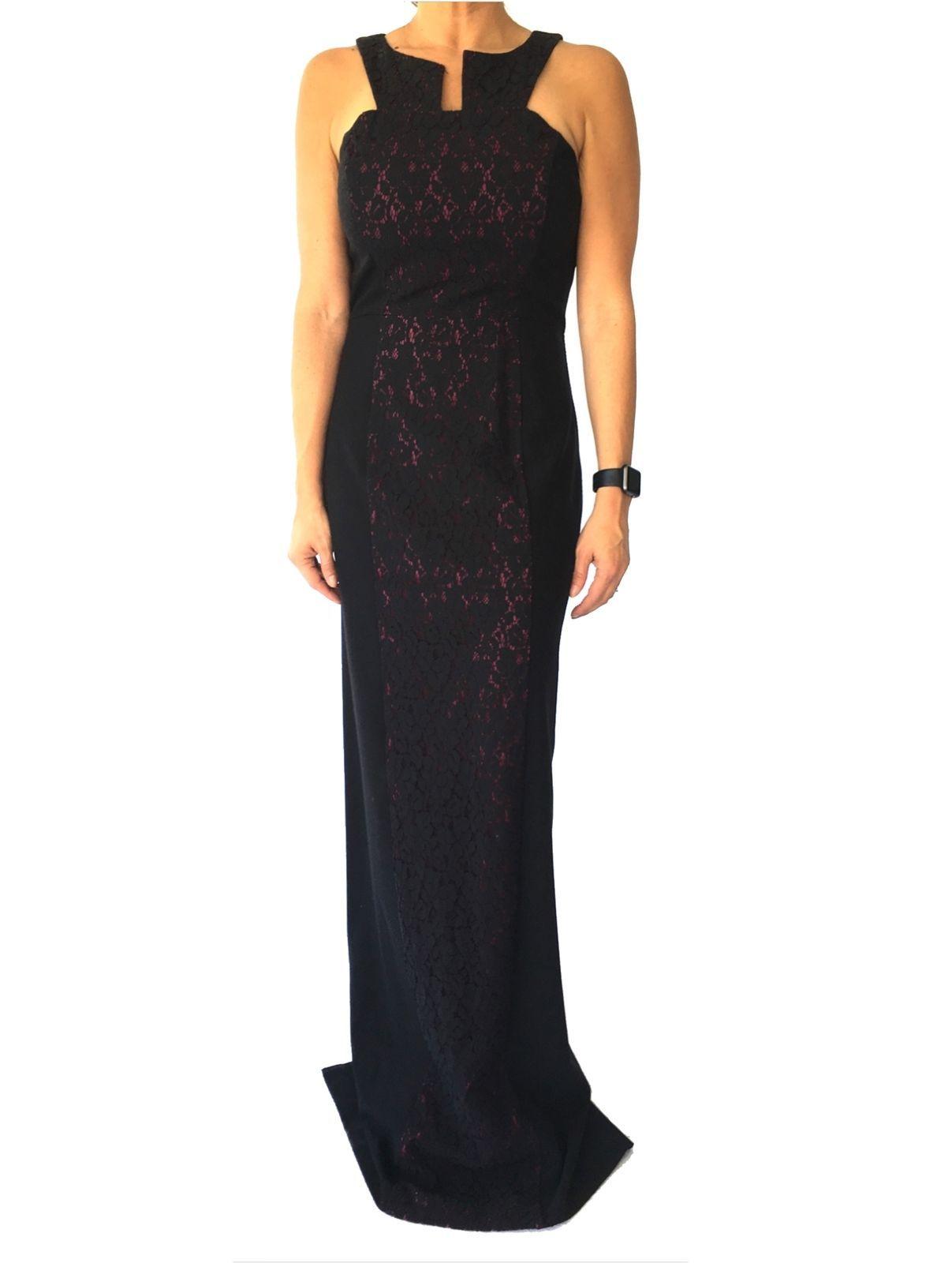 Awesome amazing black halo eve black lace gown dress medium nwt