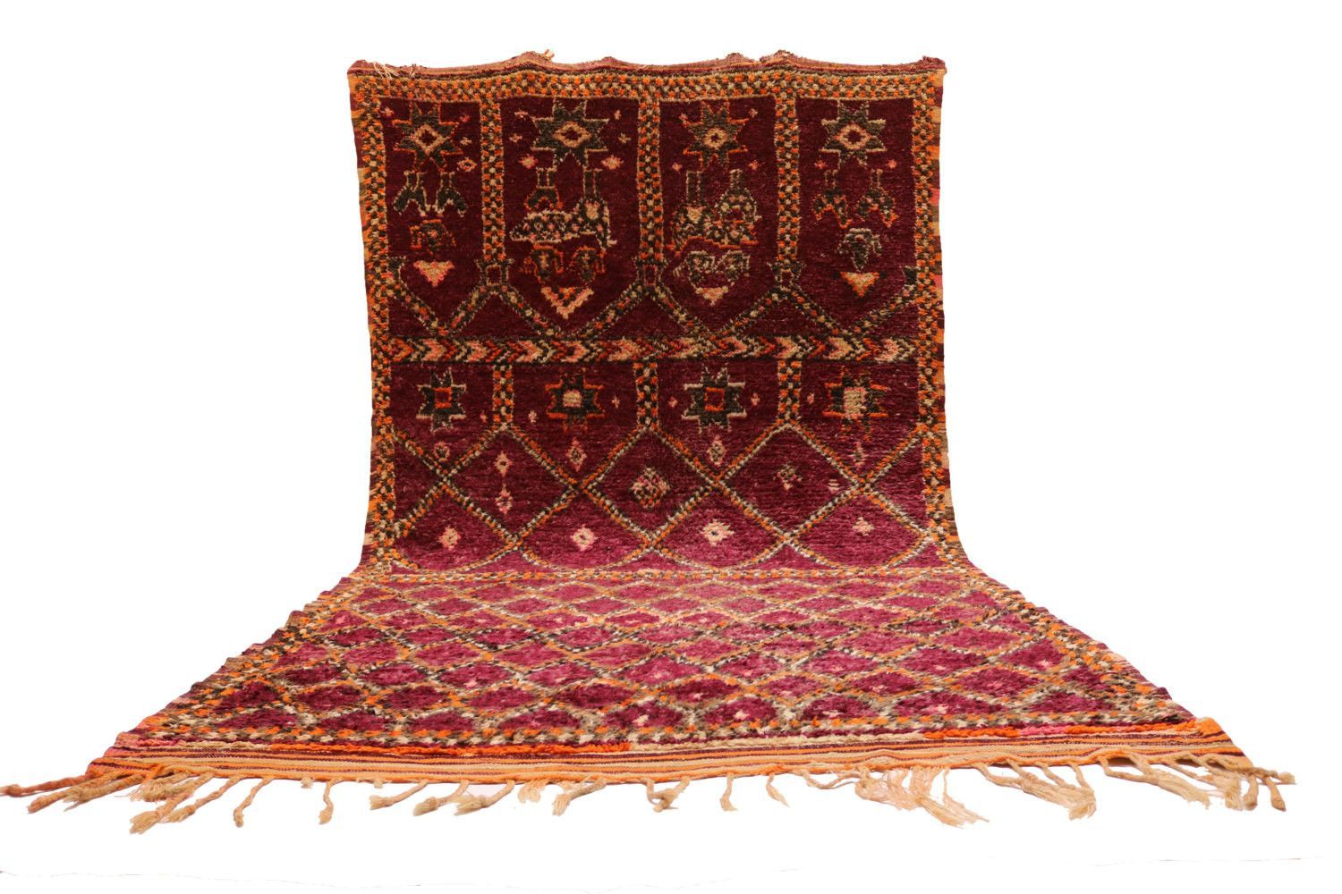 Authentic moroccan Large Carpet in Purple 7x13 berber Old 1940's BENIOURAIN Moroccan Moroccan Carpets Teppich Tapis Beni handmade rug