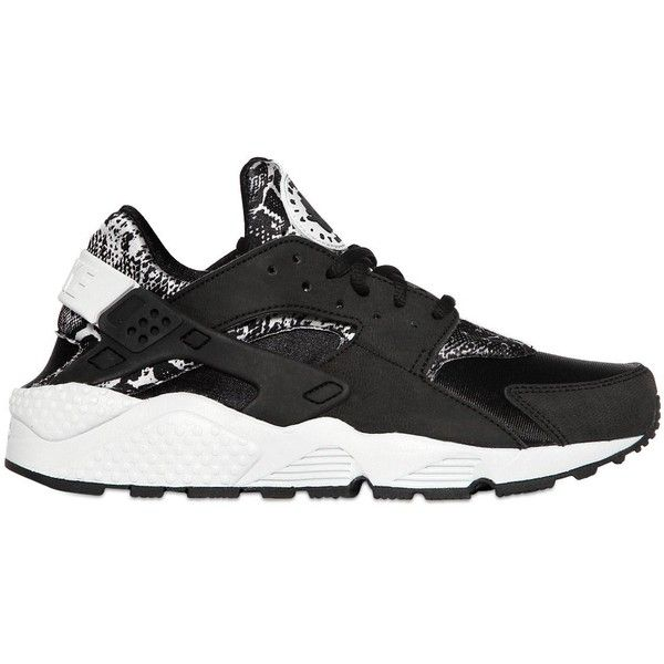 c32bb5af4d95 NIKE Air Huarache Snake Faux Leather Sneakers - Black Silver ( 160) found  on Polyvore featuring shoes