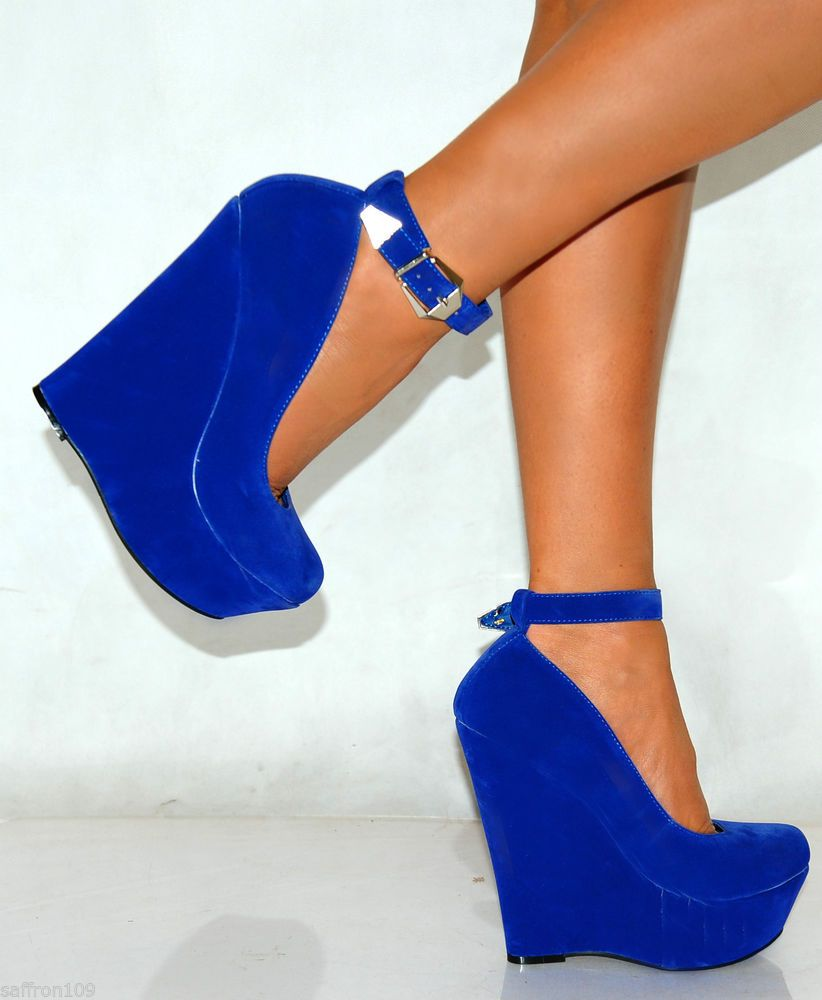 Ladies cobalt navy royal bright blue suede bow peep toe wedges ...