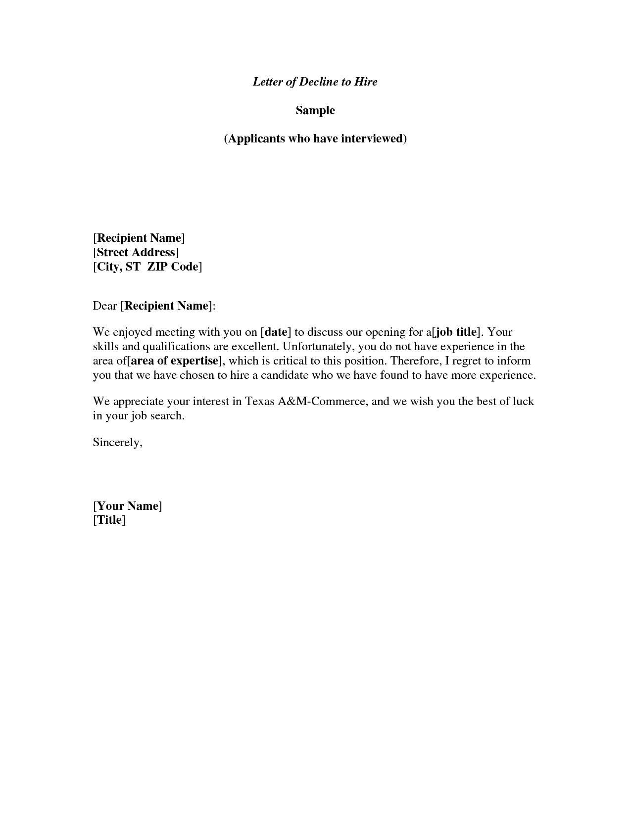 Regret Letter For Invitation To Event
